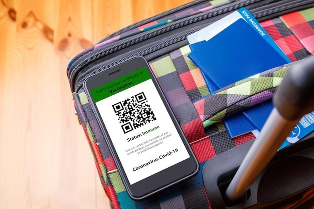 携帯電話を片手にデジタル予防接種証明書のモックアップを持ち、もう片方の手にパスポート、マスク、チケットを持っている女性