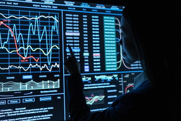 女性は黒いモニターでグラフィックを操作します