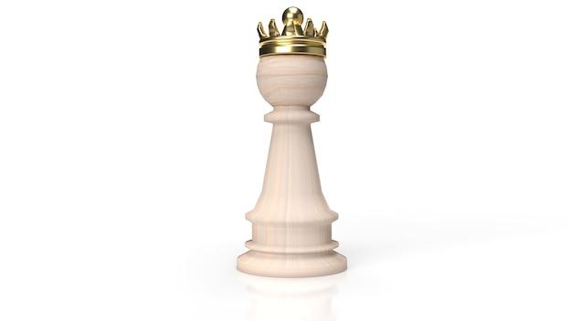 白の木製のチェスと金の王冠