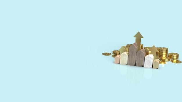 재산 콘텐츠 3d 렌더링을위한 금화에 나무 집