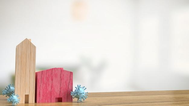 의료 또는 발병 개념 3d 렌더링을 위한 목조 주택 및 바이러스