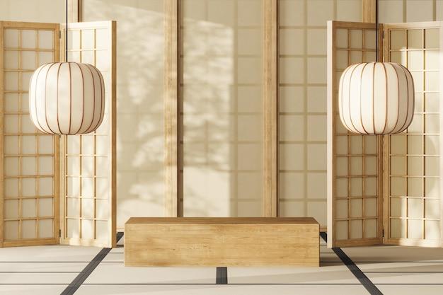 モックアップジャパンルームの木製プラットフォーム、ジャパンランタン、パネルから差し込む陽光。製品のプレゼンテーションや広告の抽象的な背景。 3dレンダリング
