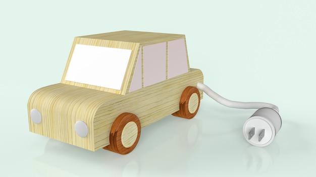 전기 자동차 또는 ev 자동차 콘텐츠 3d 렌더링을위한 나무 자동차 및 ac 전원 플러그