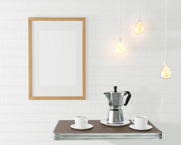 커피 포트와 컵 커피 테이블 근처 그림 나무 프레임