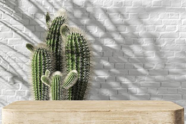 제품 프레젠테이션을 위한 나무 플랫폼, 선인장과 흰색 벽돌 벽 배경, 열대 식물은 배경에 그늘을 만듭니다. 3d 렌더링