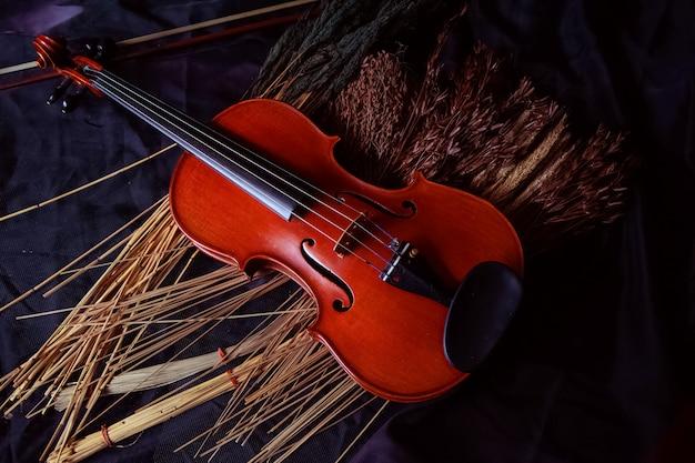 Деревянная скрипка, положенная рядом с сухим цветком, на фоне гранж-поверхности, в винтажном и художественном тонах.