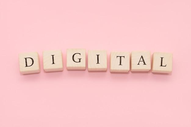 デジタルという言葉は木製の立方体でできています