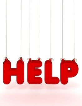Слово help образовано прозрачными красными буквами, свисающими с ниток.