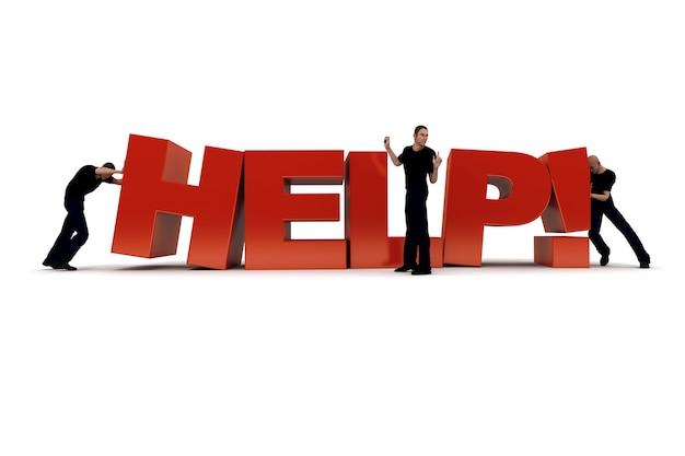 Слово «помощь» подталкивают двое рабочих, пока босс руководит операцией.