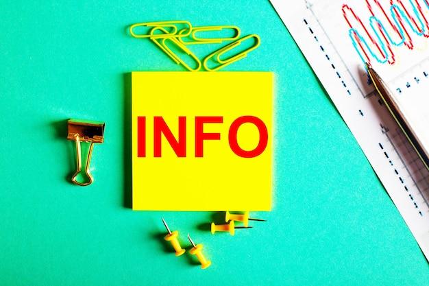 Слово информация написано красным цветом на желтой наклейке на зеленом фоне рядом с графиком и карандашом.