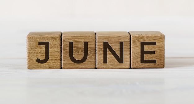 나무 조각에 6 월이라는 단어. 올해의 개념 달.