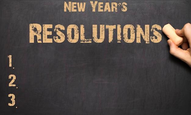 黒板に書かれた新年の抱負という言葉