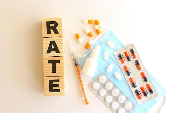 Rateという言葉は、白い背景に医薬品と医療用マスクが付いた木製の立方体でできています。医療の概念。