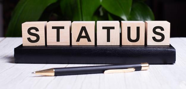 На деревянных кубиках дневника возле ручки написано слово статус.