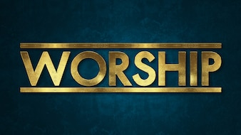 The word WORSHIP concept written in gold texture on wooden background.