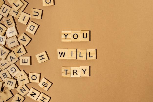 당신이 시도 할 단어는 갈색 벽에 나무 글자로 만들어져 있습니다.