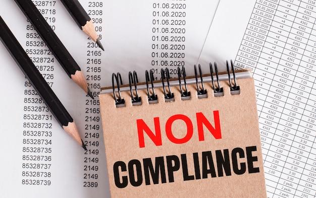 Noncomplianceという言葉は茶色のノートに書かれています