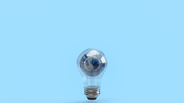 エココンセプト3dレンダリングのための電球の世界