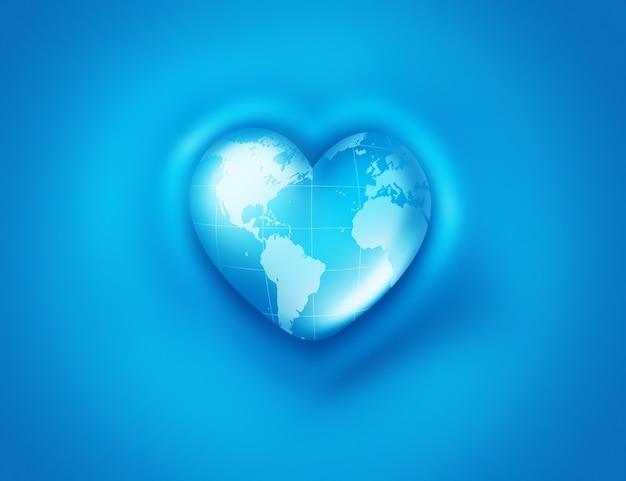 Мир в форме сердца на синем фоне