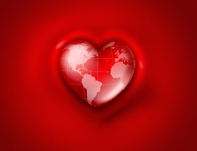 Мир в форме сердца на красном фоне