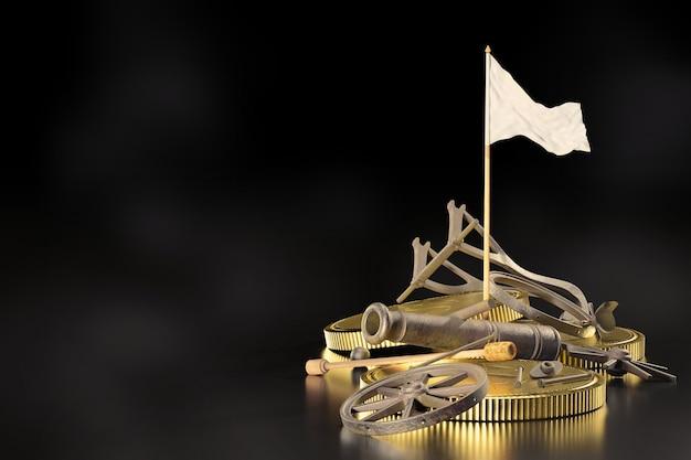 Разбитые пушки были уничтожены и свалены на землю с лежащими рядом золотыми монетами и белыми флагами на черном фоне. понятие банкротства или убыточного бизнеса. 3d визуализация.
