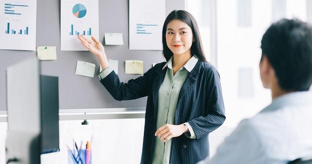 若い女性監督は、スタッフが実施する計画を練っています