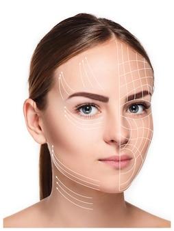 清潔で新鮮な肌、老化防止、糸を持ち上げるコンセプトを持つ若い女性