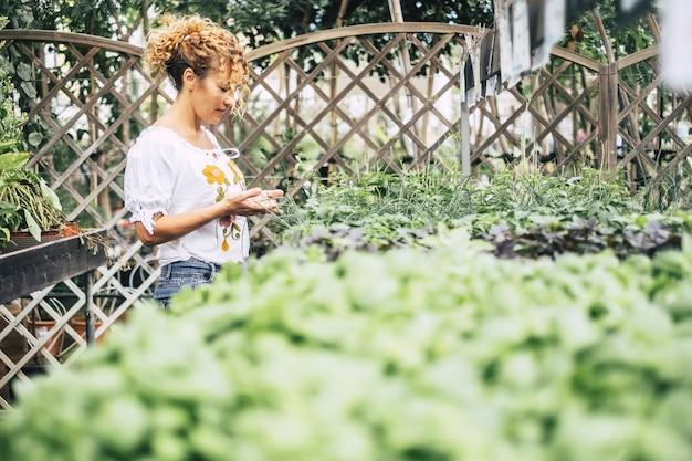 苗がたくさんある温室の若い女性は、ヒナギクのような白い花の成長を賞賛しています。自然への配慮と情熱の概念。ネイチャーショップ活動
