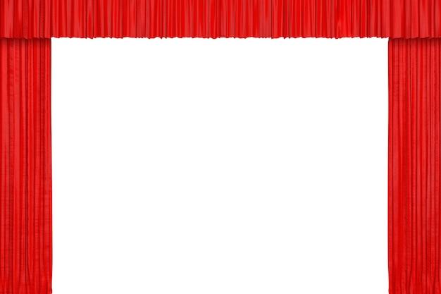흰색 바탕에 극장이나 영화관 빨간 커튼. 3d 렌더링
