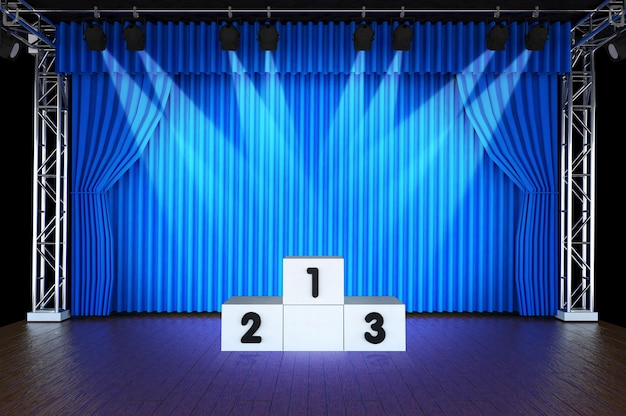 Theater stage and blue curtains and spotlights with sports podium