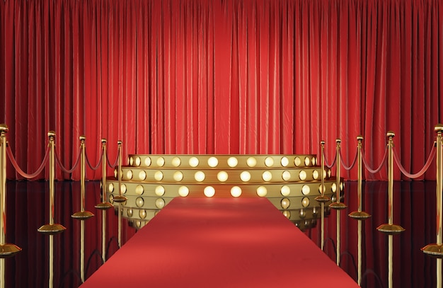Theater stage with golden event barrier and podium