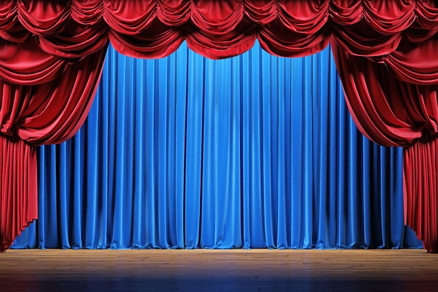 Theater stage with red and blue velvet curtains