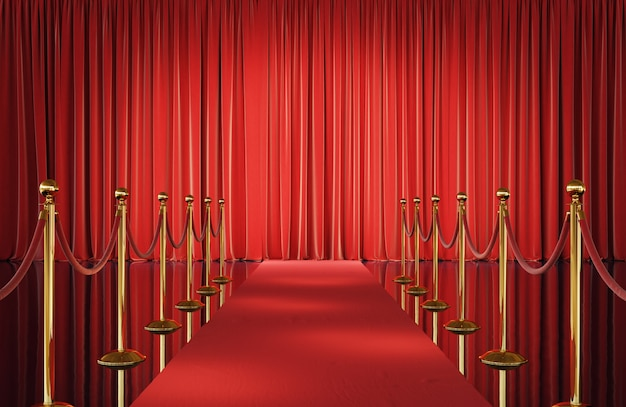 Theater stage with red curtains and golden barrier 3d