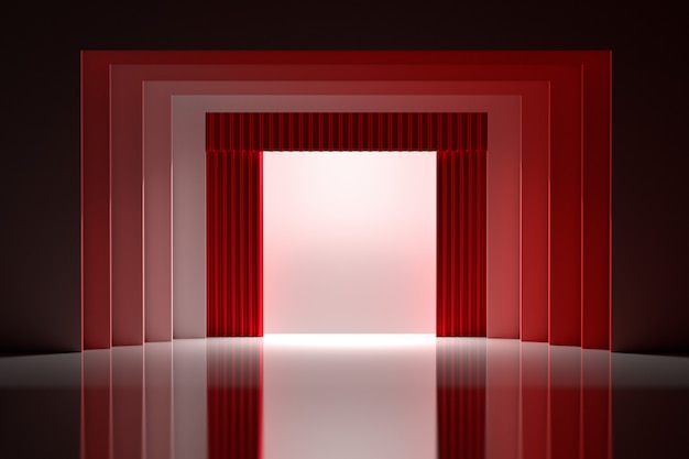 Theatre stage with red curtains and blank white space in the center with shiny reflective floor.