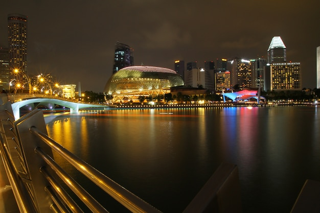 Theatres on the bay is a performance and art center located in marina bay. it is nicknamed the durian by the singaporeans because of its spikey appearance.