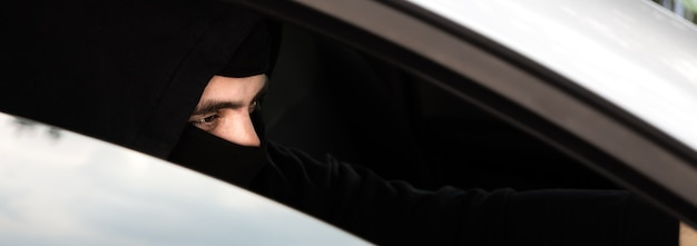 Theft of the car. carjacking of vehicle. robbing and crime.