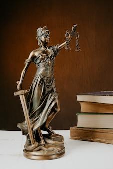 Фигурка фемиды стоит на белом деревянном столе рядом со стопкой старых книг
