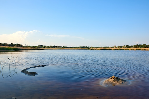 Therapeutic lake with iodine and minerals in the middle of the wild steppe
