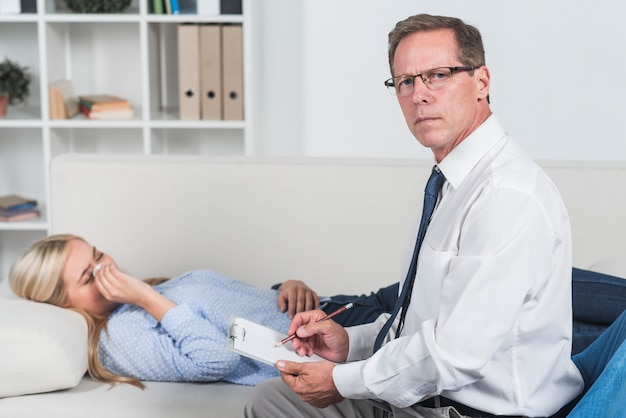 Therapist with crying patient