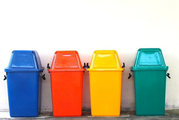 There are colourful of bin.