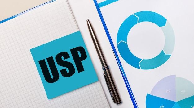 Usp unique sellingpropositionというテキストが付いた青い付箋と青いチャートの間にペンがあります。ビジネスコンセプト。上から見る