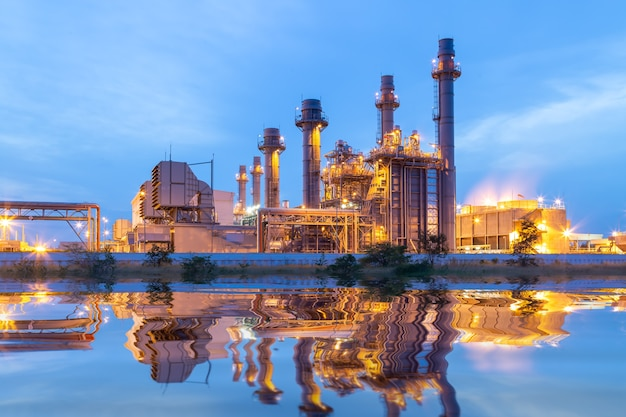 Thermal power plant for industrial estate on sunset and twilight.