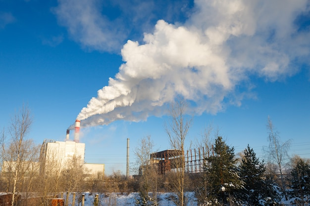 Thermal power plant in winter