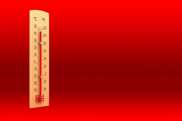 주위 온도의 개념으로 빨간색 배경에 대한 온도계. 3d 렌더링