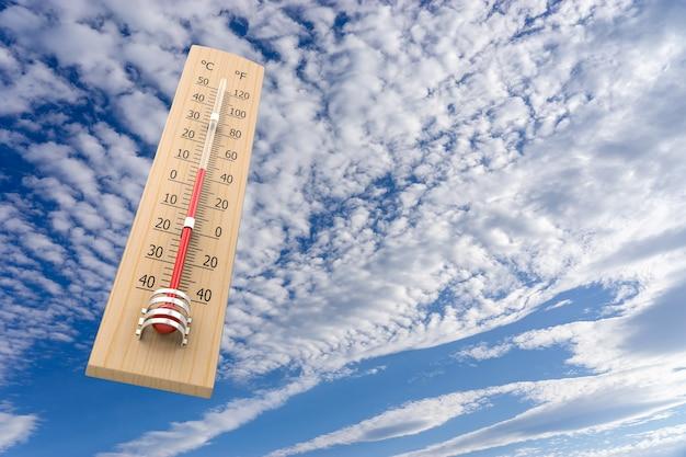 주위 온도의 개념으로 하늘에 대 한 온도계입니다. 3d 렌더링