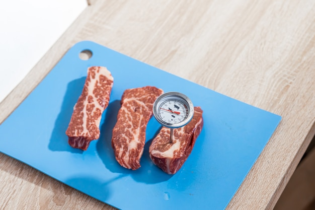 Thermometer in beef steak