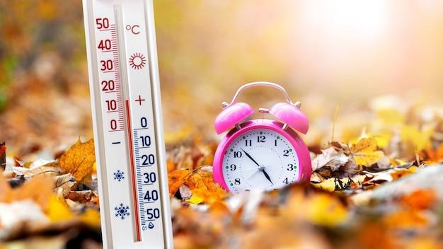 Термометр в осеннем лесу возле часов на фоне желтых опавших листьев показывает 15 градусов тепла. теплый осенний день
