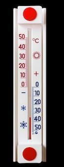 黒の孤立した背景の温度計は35度の氷点下を示しています_