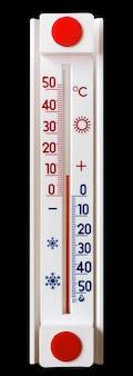 気温を測定する温度計は10度の熱を示します。黒の分離された温度計