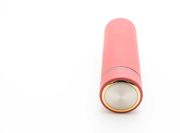 Thermos bottle on white background